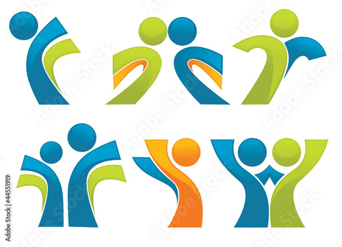 abstract sportive people symbols, vector collection