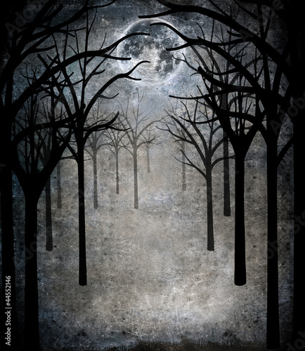 horror forest with full moon