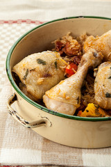 Chicken one pot meal with chorizo and rice