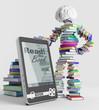 E-book and a book man