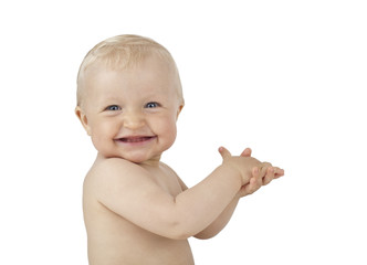 Super smile clapping hands baby isolated on white