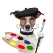 canvas print picture - painter artist dog
