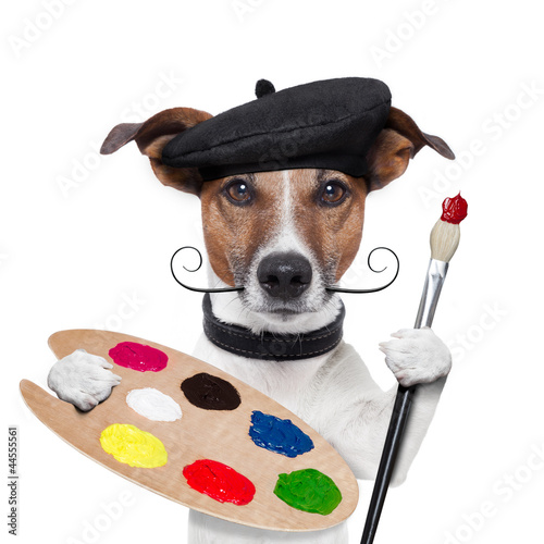 canvas print picture painter artist dog