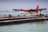 Seaplane moored at pier