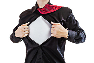 Young business man revealing a superhero suit