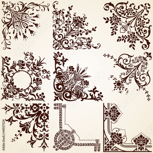 Decorative Corners , vector set of various vintage calligraphic
