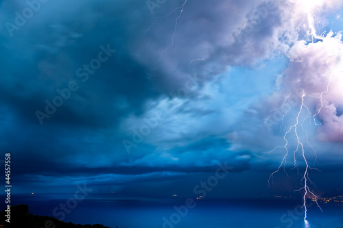 Positive lightning over the sea