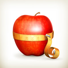 Tape measurement and apple