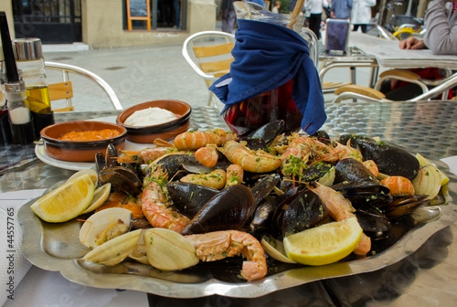 seafood - parrillada de marisco, spanish dish with sangria wine