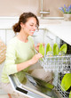 Dishwasher. Young woman in the Kitchen doing Housework. Wash-up