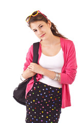 Pretty smiling teenage girl with ponytail, bright pink sweater,