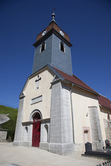 french church with blue sky