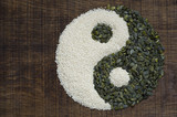A yin yang made from edible seeds