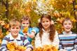 Leaves falling on children