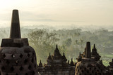 View from Borobudur temple, Yogyakarta, Java island, Indonesia