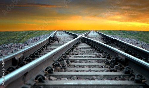 Railroad in sunset