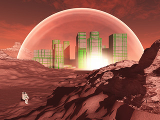 Domed city in inhospitable planet