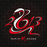 new year card with snake