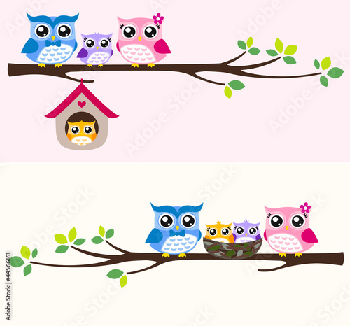 happy owl family