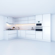 Modern kitchen cabinets in new white interior