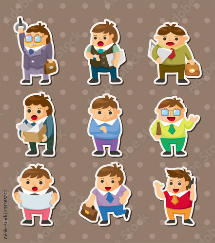 cartoon office workers stickers