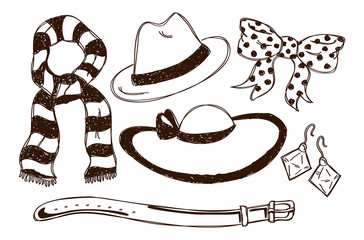 accesories in doodle style