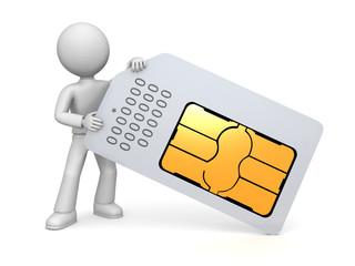 Figure holding SIM card