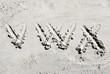 Sand beach alphabet: letters V, W, and X