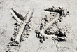 Sand beach alphabet: letter Y and Z