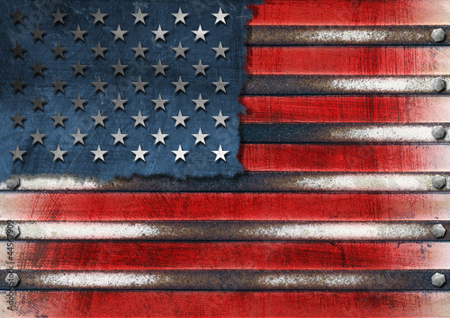 USA Grunge Metal Flag