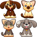 Cute dogs and cats. Vector isolated characters.