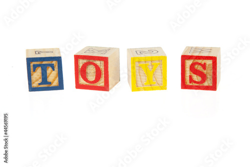 Toys sign made of wodden bricks