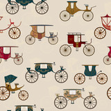 Background with various antique carriages