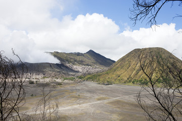 volcano Bromo is smoking
