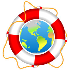 Life buoy with Earth planet isolated vector