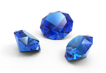 A beautiful saphire gems isolated on white background