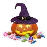 Fototapety Vector Illustration of a Halloween Pumpkin with Candies