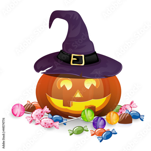 Vector Illustration of a Halloween Pumpkin with Candies