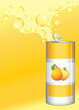 Opened aluminum can with fruit lemonade on the yellow background