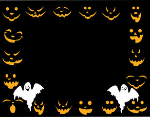 Halloween background with different faces with ghost