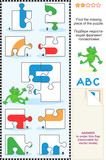 ABC learning educational puzzle - letter F (frog)