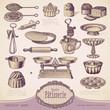 vector set: Patisserie - vintage baking design elements