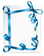 Holiday background with blue gift bow. Vector