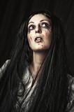 female halloween zombie