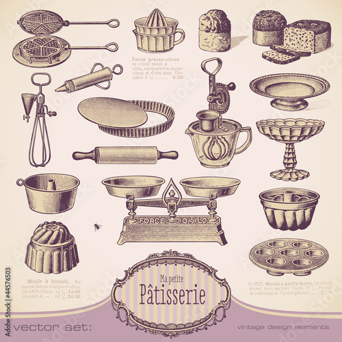 vector set: Patisserie - vintage baking design elements