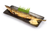 Japanese food style , Saba fish grilled the plate poster