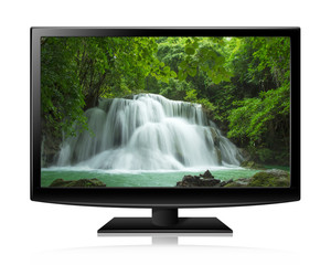 Flat screen tv lcd or led realistic illustration with nature wal