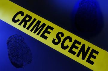 Yellow crime scene tape on blue background with fingerprint