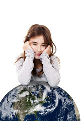 Girl with the planet earth