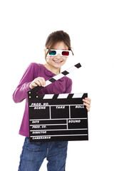 Girl with 3D glasses and a clapboard